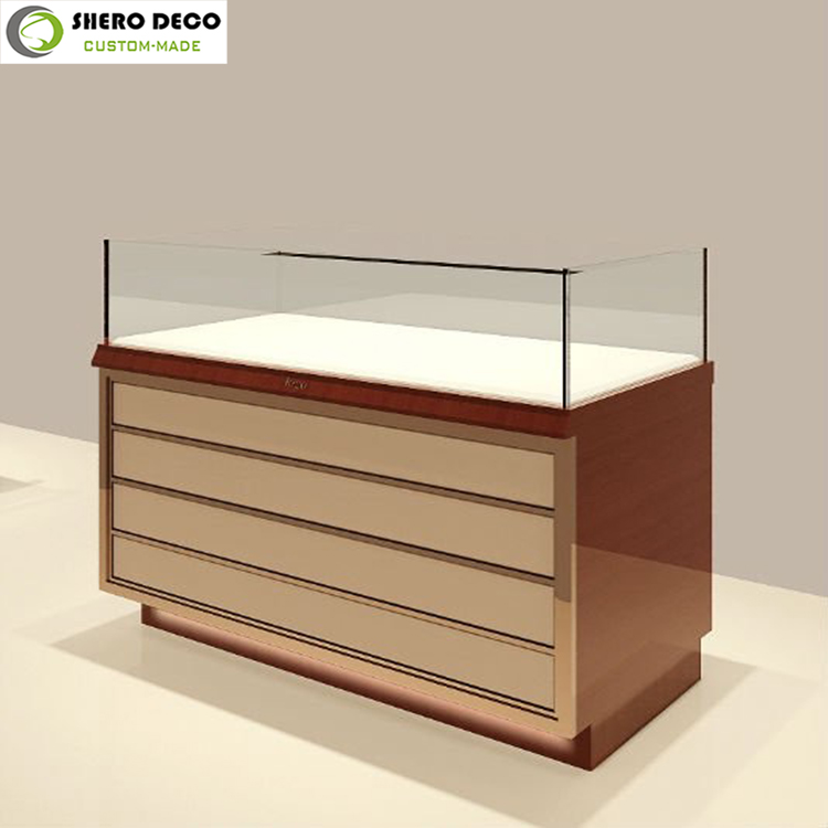 Attractive customized design vivid charming wooden glass jewelry display case for sale