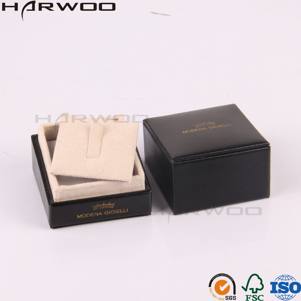 Harwoo Brand Luxury New Product Custom Black Decorative PU Leather Wedding Ring Box Jewelry Packaging Box