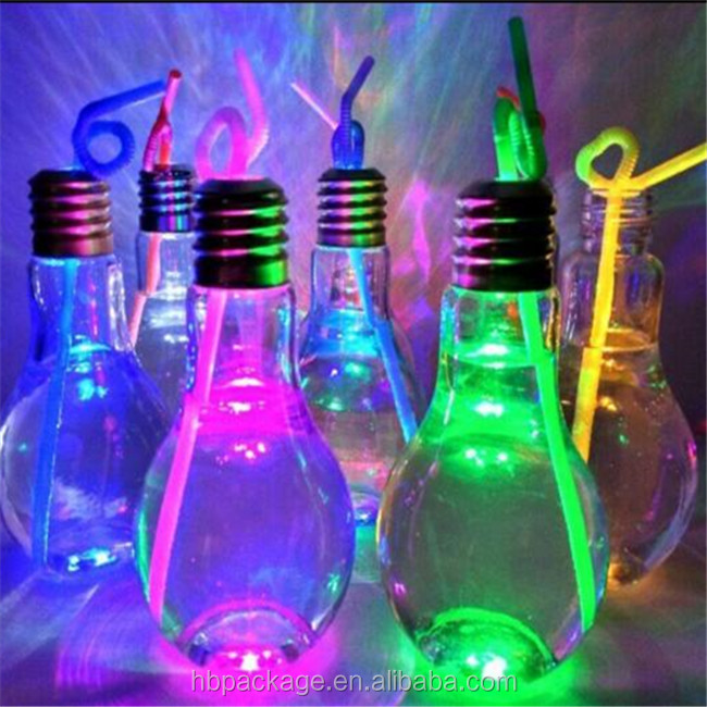 bling LED light bulb shape pet plastic jiuce bottle with straw and metal cap