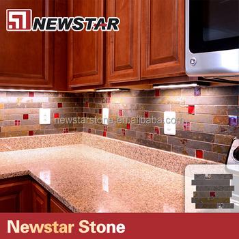 Travertine Backsplash Linear Subway Slate Glass Mosaic Kitchen Backsplash  Tile - Buy Slate Glass Mosaic,Mosaic Kitchen Backsplash Tile,Linear Glass  ...