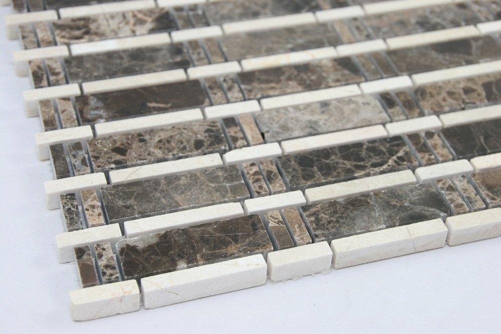 Dark Emperador, Cream Marfil; Marble Mosaic Tile; Brown and Cream Marble Mosaic; Bathroom Marble Mosaic.