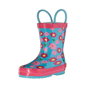 Wellies Wholesale Children's Rubber Rain Boots With Pull Handle Blue Background Flowers Printing Anti-Slip Kids Rain Shoes