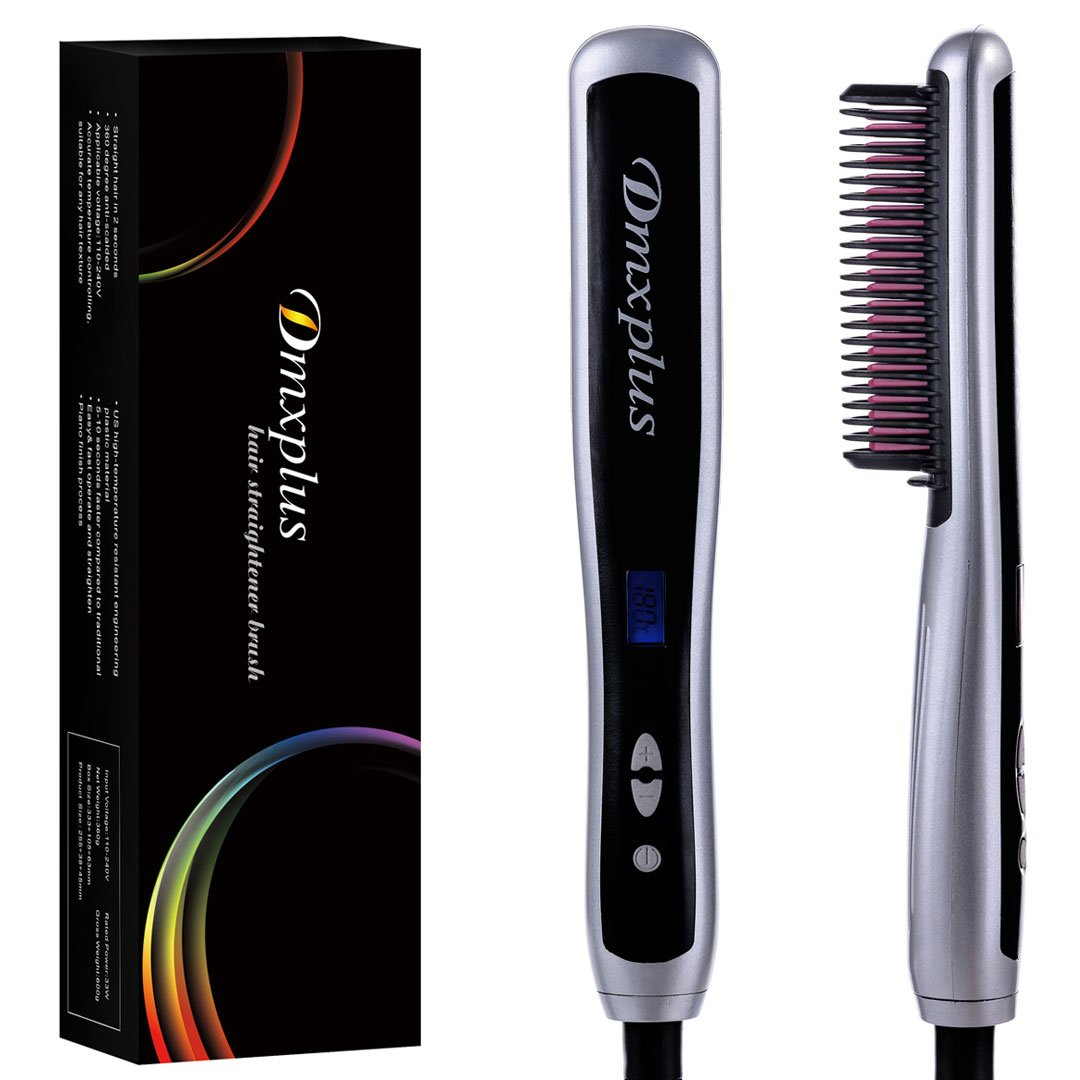 Electric Hair Straightener Straightening Brush From Dmxplus Fastest Ceramic Comb Heating Styling And Safest Anti-scald Design,Adjustable Temperature Hot-hair Brush,LCD Display,Hair Care Gift (Silver)