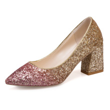 89353e134f61 2019 New Spring Bling High Square Heels Women Shallow Pumps Rose Gold Slip  On Pointed Toe