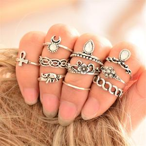 10 Pcs/set Fashion Vintage Rhinestone Hollow Out Knuckle Nail Midi Ring Set Jewelry