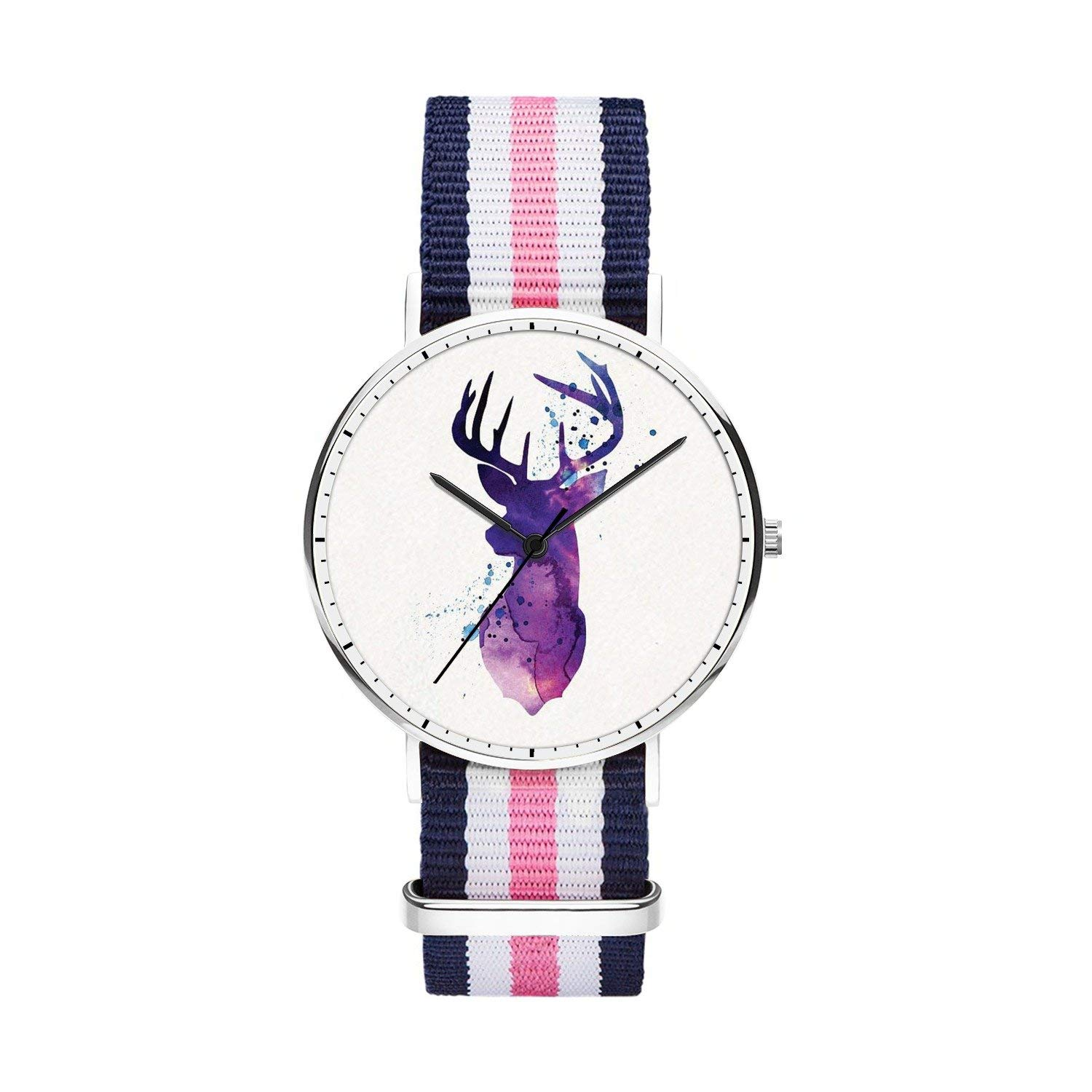 FELOOWSE Girls Watches, Women Watches, Sliver Slim Minimalist Imported Japanese Quartz Practical Waterproof Unique Personalized Youth Fashion Design Cute Watches for Women.- Deer