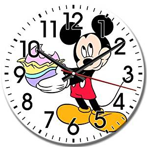 Whisper Quiet Eco Package Arabic Numbers Round Wall Clock Frameless Mickey Mouse Silent 10 Inch / 25 cm Diameter