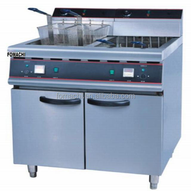 Floor Stand Electric Fryer 2 Tank 4 Baskets Commercial Electric Fryer Stainless Steel Body Electric Deep Fryer FMX-WE279B