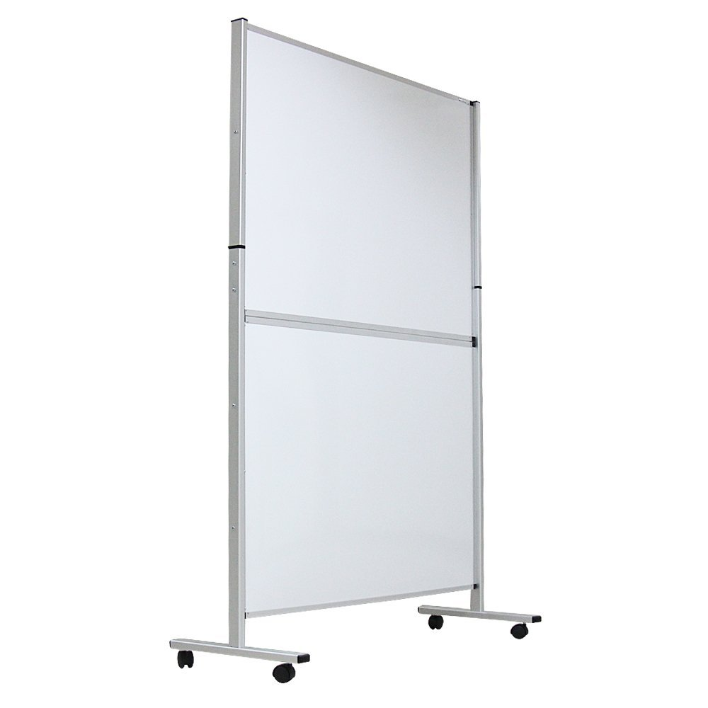 "VIZ-PRO Mobile Room Divider/Office Partition, Double-sided Magnetic Whiteboard 48""Wx72""H"