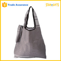Wholesale 2016 New Design Striped Polyester Foldable Extra Large Shopping Bag
