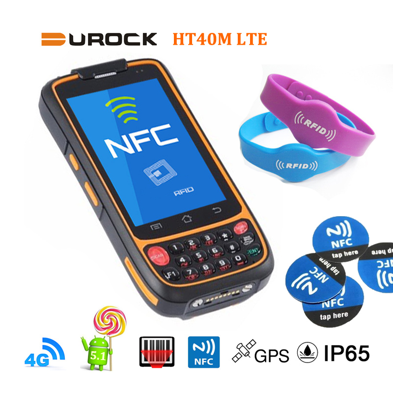 4 inch Android Handhelds with NFC Reader 4G LTE Android 5.1 Touch Screen Barcode Scanner Handheld PDA