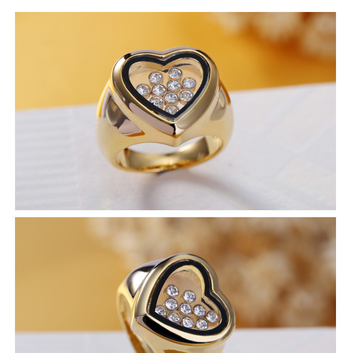 Latest Design Gold Plated Wedding Ring With Heart Imprint For Women