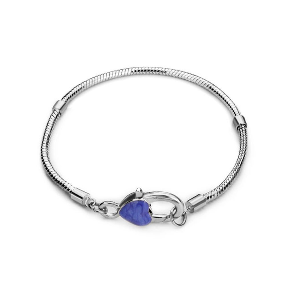 Pugster Love Heart Lock Snake Chain Bracelet Fits Pandora Charms Beads