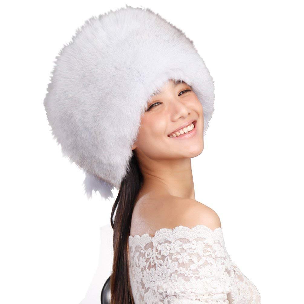 2ea4bd4dc1040 Get Quotations · URSFUR Natural Arctic Fox All Fur Zhivago Pill Box Fur Hat  with Fox Tail
