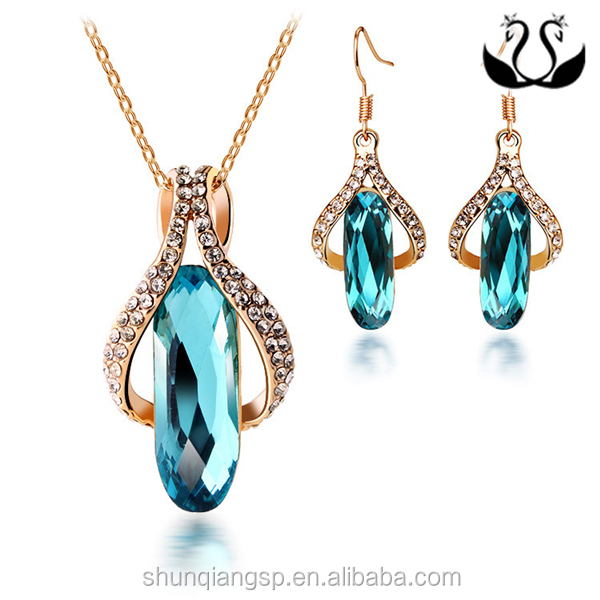 Wholesale 2016 New Design Gold Plated Blue Luster CZ Jewelry Set Factory Direct