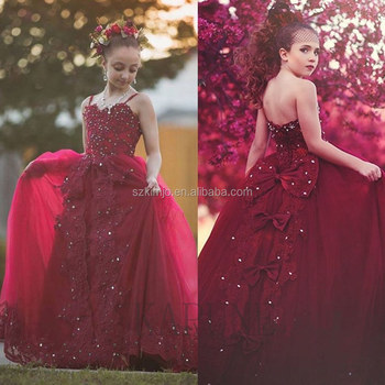 4de82407134 Glitz Pageant Little Girl Dress Beaded 2018 Luxury Lace Applique Burgundy Flower  Girl Dress Kids Prom