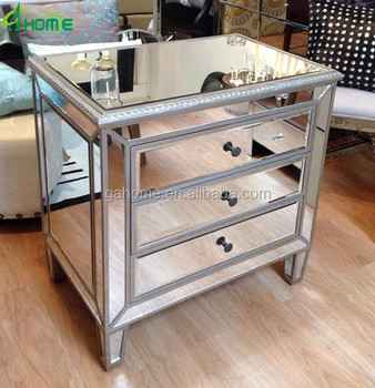 Rita Hayworth Mirrored 3 Drawer Accent Chest Bedside Table Nightstand In Silver Finish