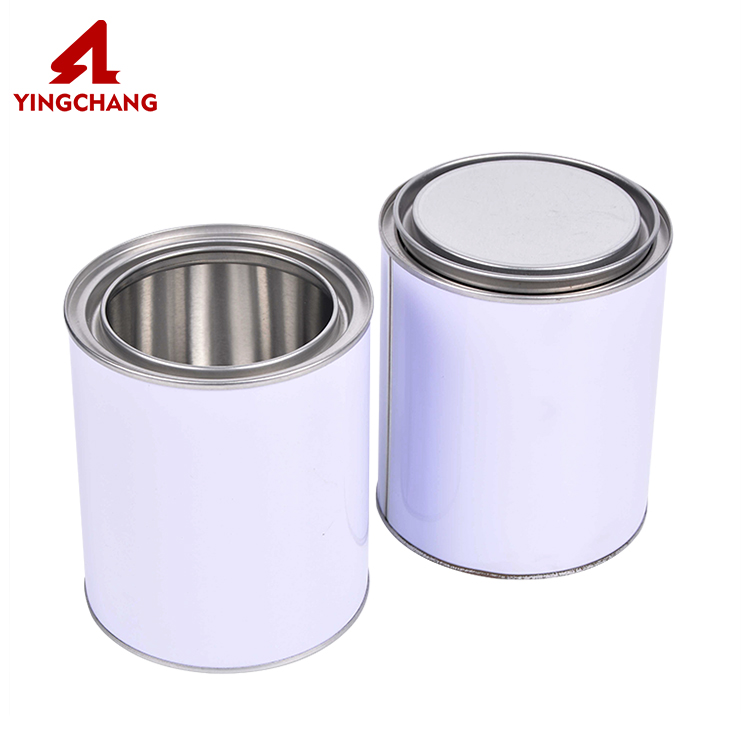 OEM white color airtight empty clear paint can metal tin with lids wholesale