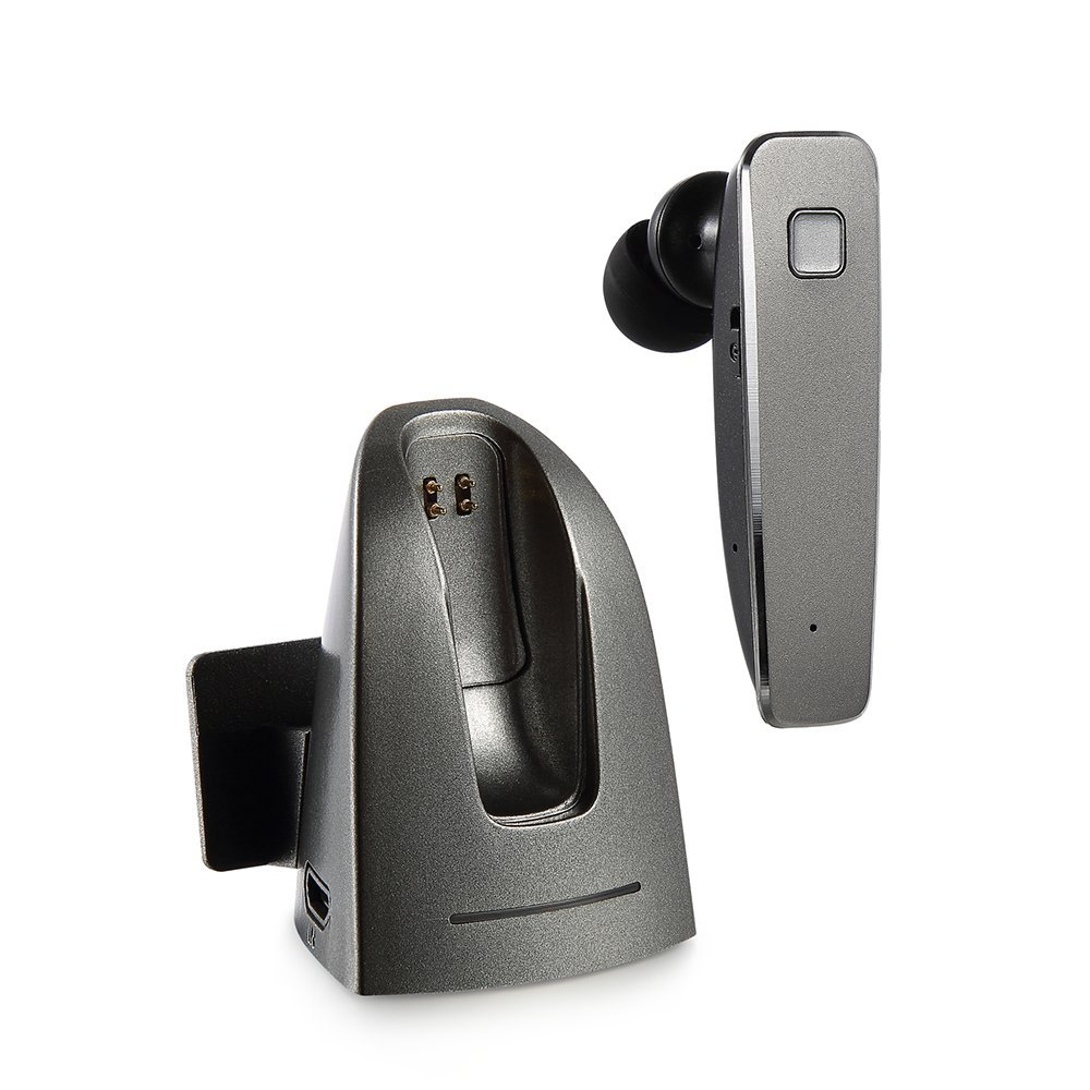 Bluetooth Headphone Wireless Bluetooth 4.1 In-ear Headset Car Kit Earbuds with Microphone and Charging Dock Handsfree Calls for iPhone Samsung LG HTC Motorola Smartphones (Black)
