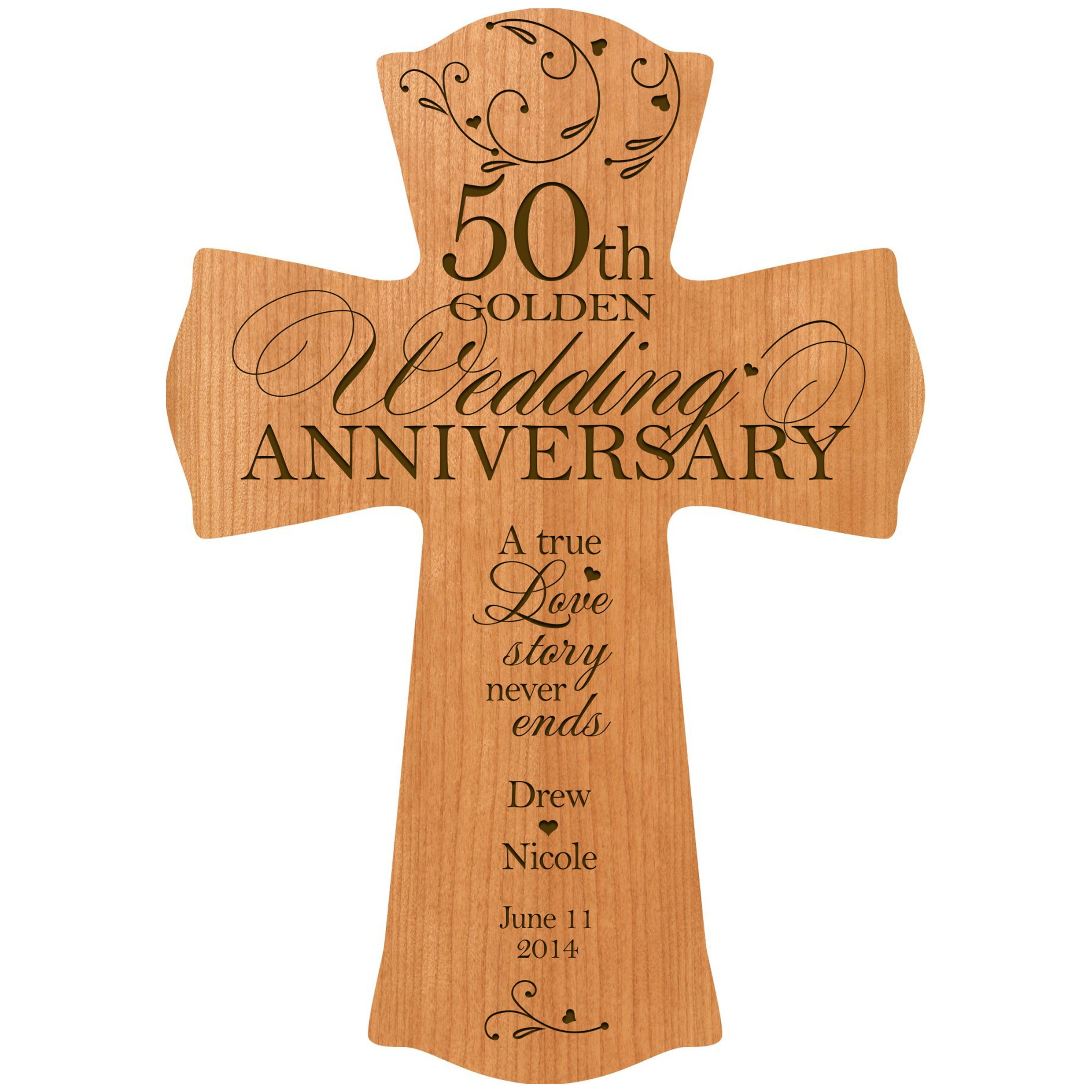 Get Quotations Personalized 50th Wedding Anniversary Wood Wall Cross Gift For 50 Year Gifts Her