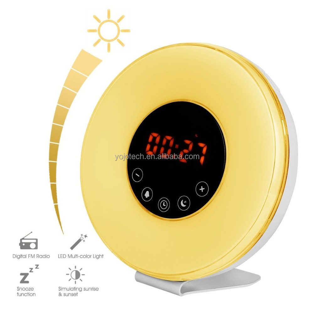 Digital LED Alarm Clock Radio, 6 Natural Sounds & FM Radio, Snooze - 7 Colors Atmosphere Lamp