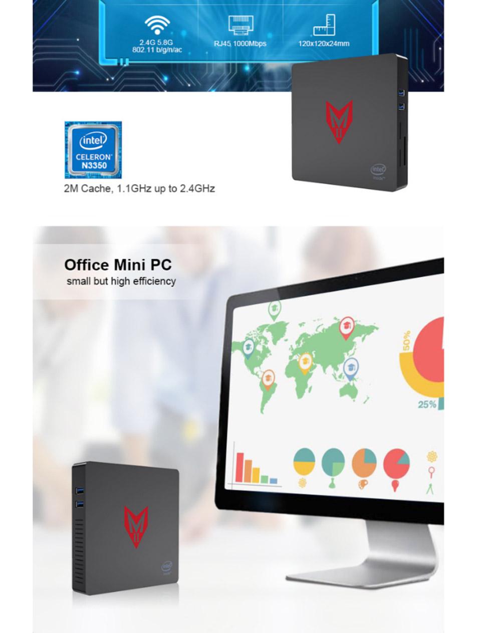 MII 4 Mini PC Intel Apollo Lake J3355 Windows 4GB 64GB EMMC 4K Dual