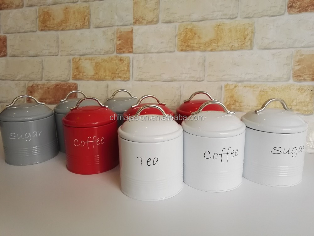 Lot de 3 Métal Thé Café Sucre Boîtes de stockage bidon vintage rétro Stockage Pots