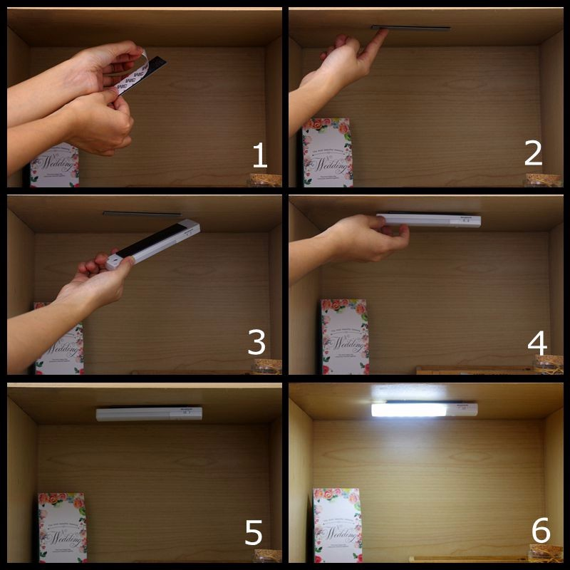Usb Rechargeable Under Cabinet Lighting High Brightness 6 Leds Pir ...