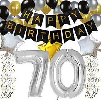 70TH Birthday Party Decorations Kit Black Happy Banner Silver 70 Mylar Foil Balloon Star
