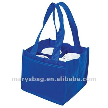 Non-woven cafe bag with section dividers fits 4 cups
