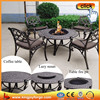 4-Person Cast Aluminum Patio Set With BBQ Fire Pit Table