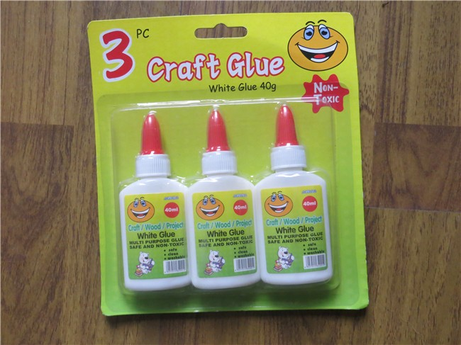 40ml non toxic school supply good quality white pva craft glue blister card pack