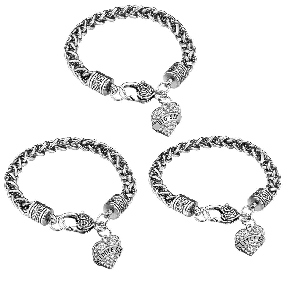 Get Quotations Ijuqi Sister Gift Charm Bracelet Set 3pcs Silver Crystal Love Heart Middle Little Sis