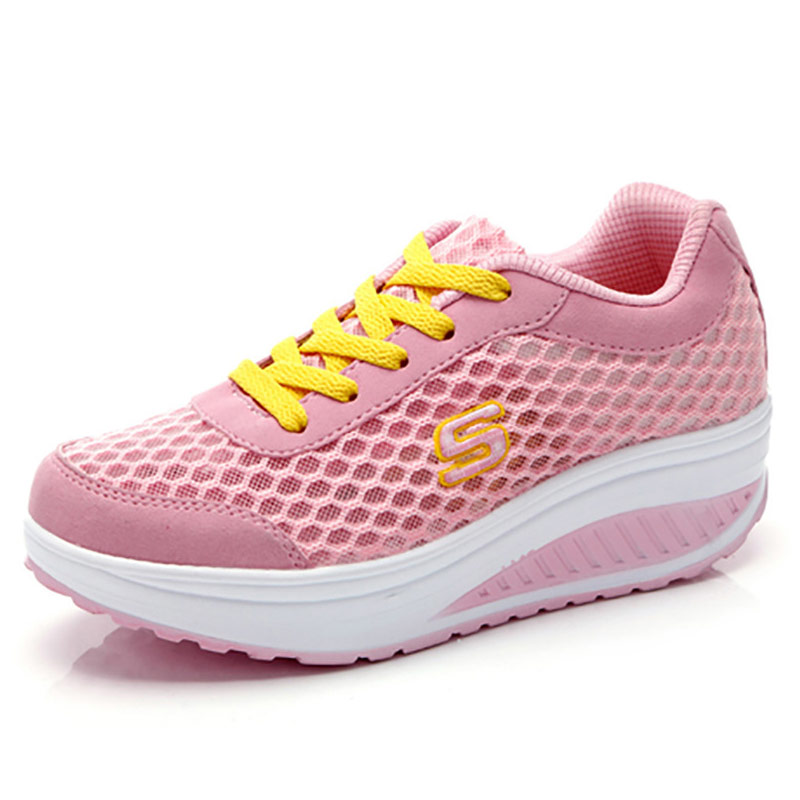 cheap for discount 4ef62 07977 ... New Women Causal Shoes 2016 Sport Fashion Flats Height Increasing  Platform Loafers Breathable Air Mesh Swing