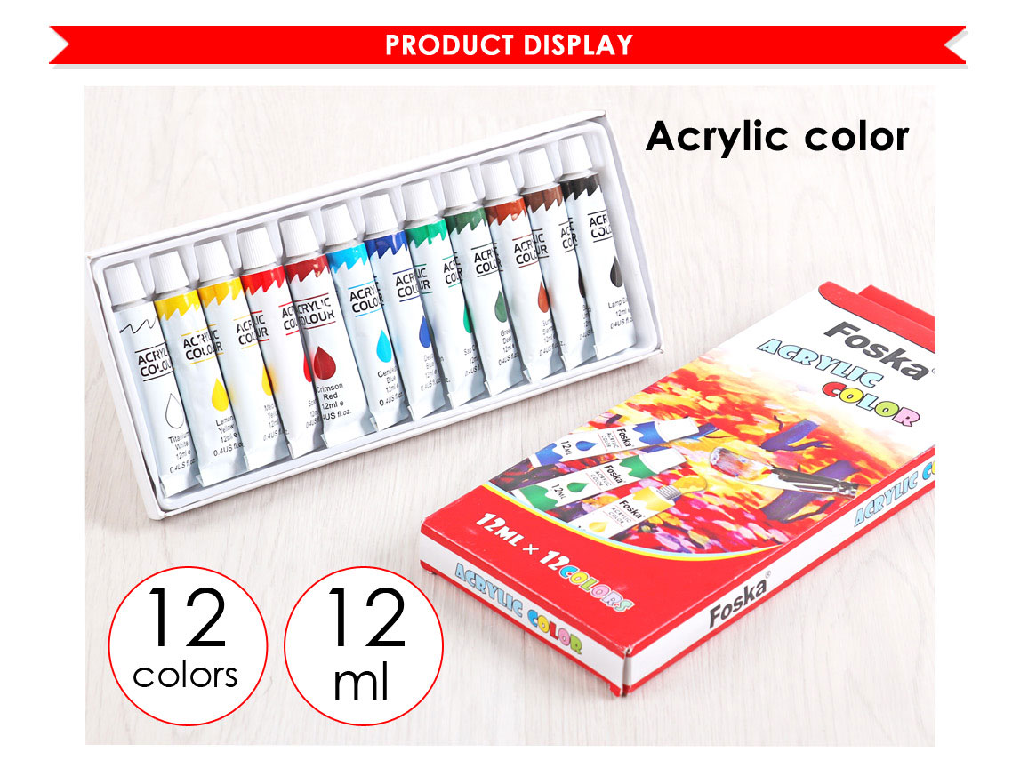 Foska High Quality 12 PCS Drawing Tube Artist Acrylic Color Paint Set