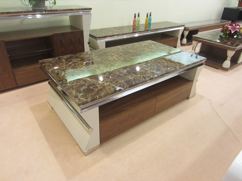 Modern Marble Top Onyx Dining Table With Walnut Wood Design
