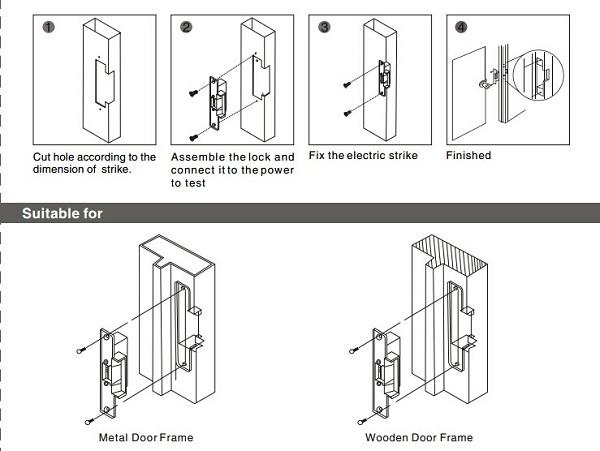 Long plate fail secure security electric strike door locks