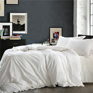 Solid Color with Exquisite Ruffles Design Breathable Queen Size Ivory Linen 3 Pieces Duvet Cover Set