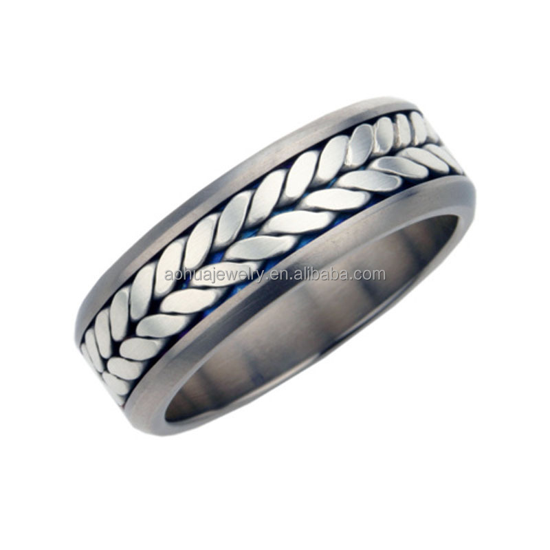Titanium Mens Wedding Ring With Silver Chain Inlay, Titanium Silver 316l  Stainless Steel Rings