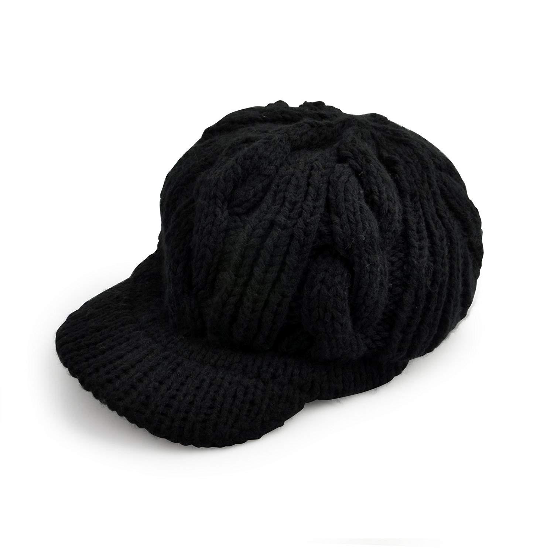 1a636d2582da5 Get Quotations · Women Girls Woolen Knitted Beanie Hat Brim Cap Thick  Winter Hat Black