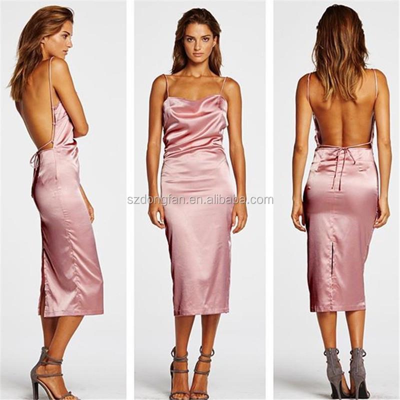 Moda 2017 Verano Sexy Vestido De Playa Vestido Largo De Satén Tela ...