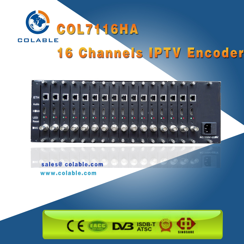 Compact IPTV solution HD & SD video Encoder 32 channel /HD MI and AV over UDP RTMP HTTP live streaming encoder COL7116HA