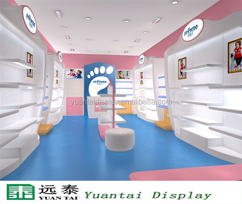 Customized Mdf Kids Shoes Display Cabinet Decoration For Shoe Shop ...