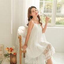 Женское нижнее белье из модала, однотонное хлопковое белое кружевное ночное белье, мягкая Ночная рубашка в винтажном стиле(Китай)