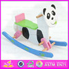 2015 Hot Sell Cartoon Panda design rocking horse,Novelty kid wooden rocking horse,Wholesale children wooden ride on toy WJY-8010