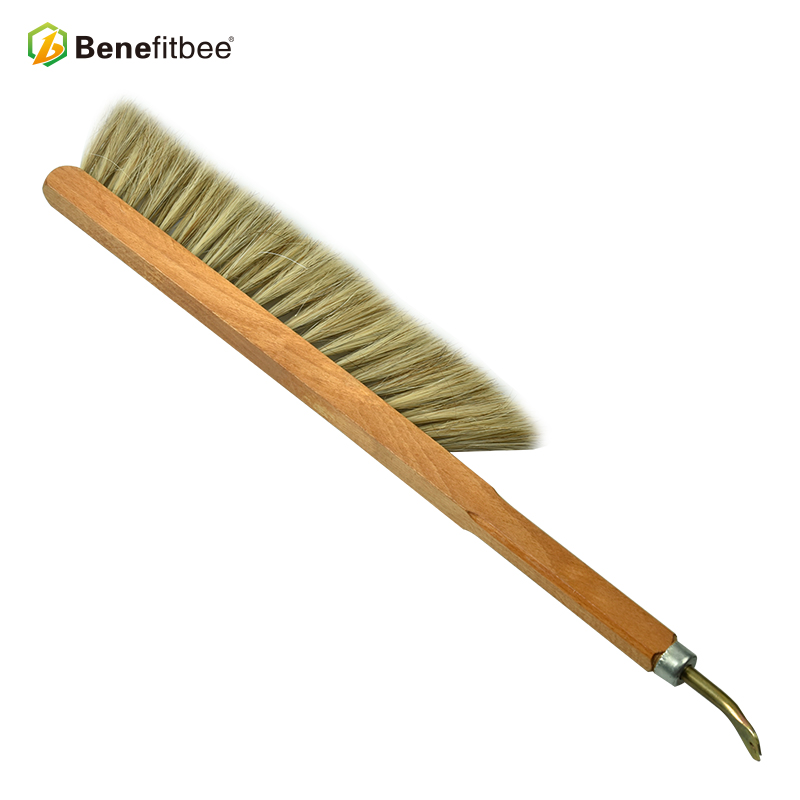 New Design Beekeeping Tools Brush Double Row Horse hair Bee Brush With Nail Puller For Bee Keeping