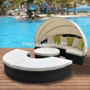 outdoor rattan round daybed with canopy