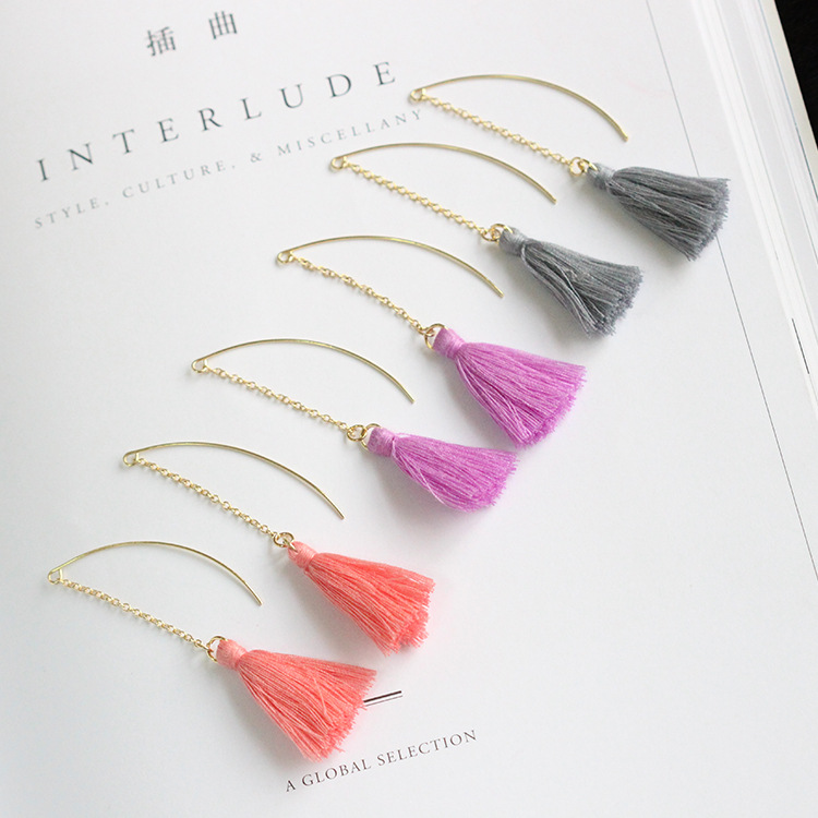New 2017 Long Fashion Gold Plated Earrings Chain Three Colors Wool Tassel Earrings Women