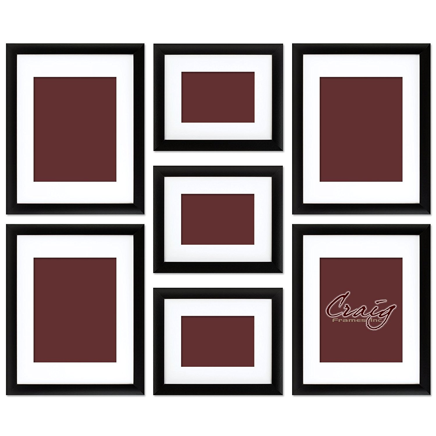 Craig Frames 1WB3BK Picture Frame 7-Piece Wall Set, Black Frames, White Display Mats, Picture Hanging Tool