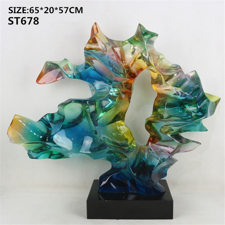 Wholesale home decoration craft custom transparent clear resin irregular sculpture for hotel decor